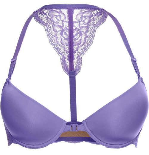 Megerősített lila melltartó pántokkal a nyak körül és az elülső rögzítéssel